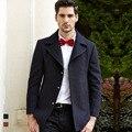 Blusão de lã trincheira do revestimento do revestimento dos homens de inverno moda masculina de lã ocasional sobretudo 2017 outono nova chegada do transporte da gota