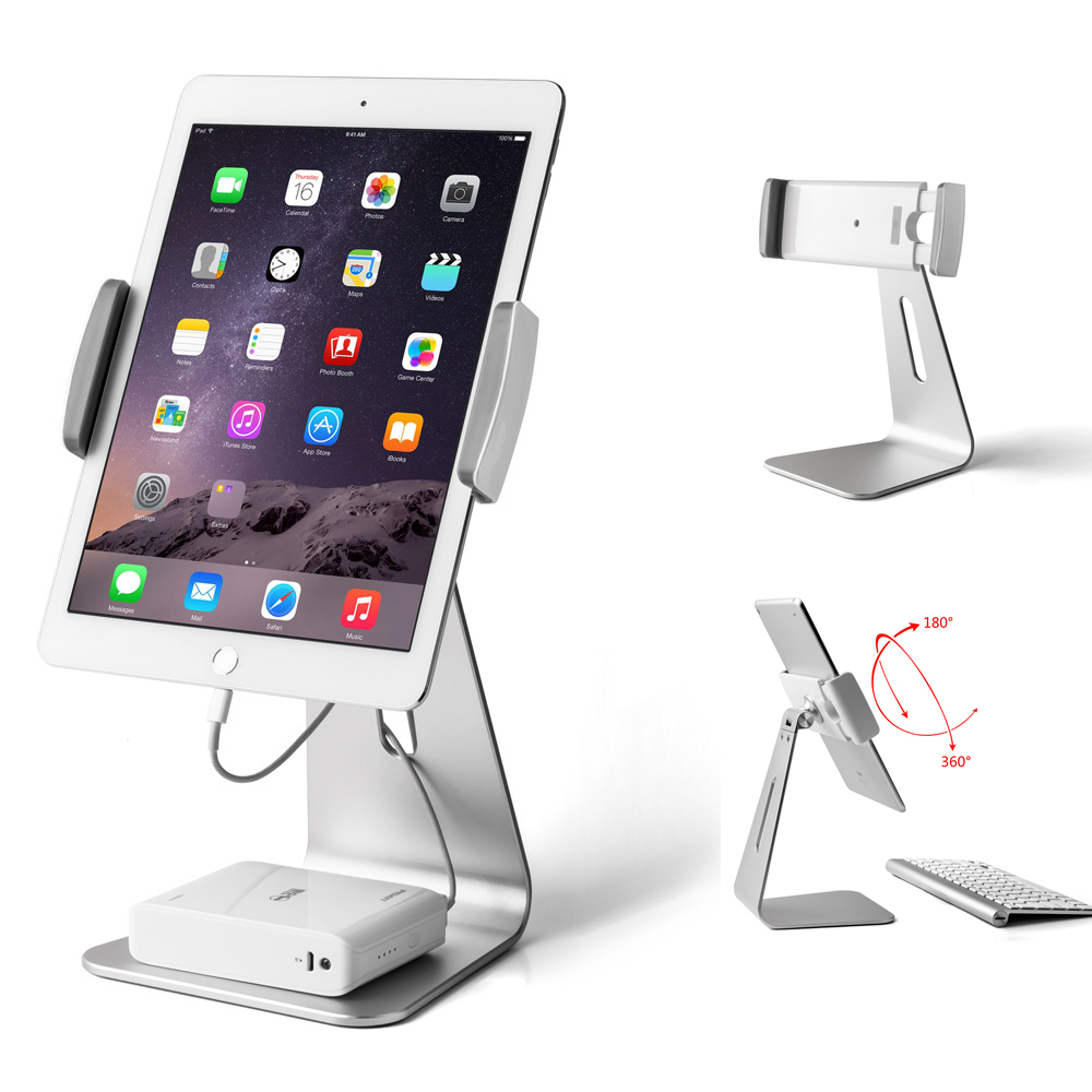 Tablet Stand for 7 to 13 inch Tablet 360 Rotating Stand Holder Aluminum Tablet Mount Holder for iPad 2018 /Pro/Air 2 Mini 2 3 4 aluminum tablet pc stand holder for ipad pro ipad new 2018 air 2 mini 4 surface pro 4 3 docking station cradle anti skid silver
