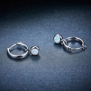 Image 3 - Pendientes de Clip de piedras preciosas de ópalo para mujer, joyas redondas de 5mm, pendientes de plata multicolor, regalos de estilo clásico 925