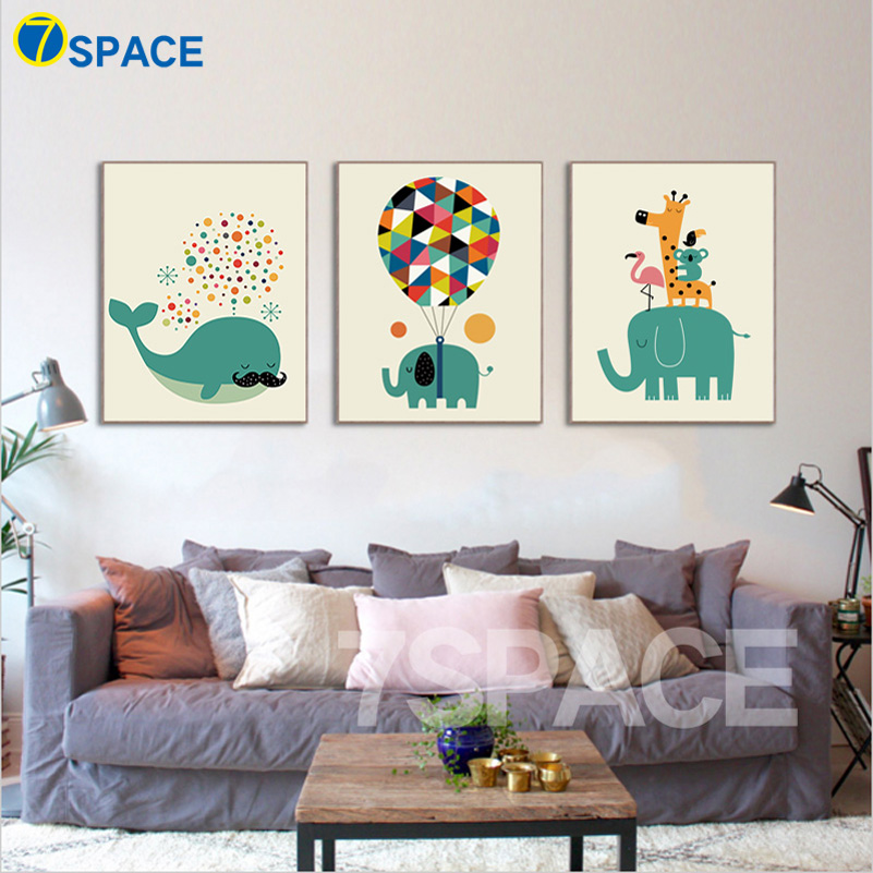 7 space cartoon balloon elephants whales family canvas for Canvas painting for kids room