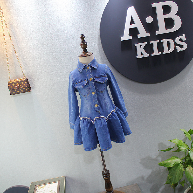 Girls dresses spring 2018 new children's wear girls dresses girls princess dress children pearl denim dress vintage suitcase 20 26 pu leather travel suitcase scratch resistant rolling luggage bags suitcase with tsa lock