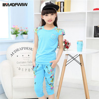 Children Clothing Girls Clothing Set Casual Sport Print Cotton Short Sleeve Two Pieces T shirt Suits Low Price Size 110-160