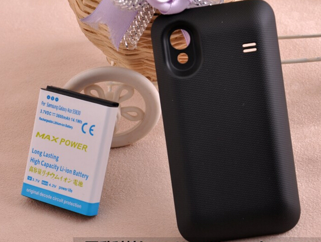 3800mAh extended replacement high capacity Battery For Samsung Galaxy Ace S5830 + black or white Back Door Cover + free shipping