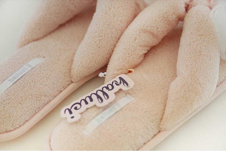 26825c7fdd0446 ... HALLUCI Sweet butterfly women shoes home slippers fluffy indoor flip  flops coral fleece simple ladies summer ...