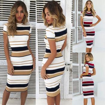 Womens Short Sleeve Bodycon Dress Ladies Summer Striped Dress Size 6-16 Hot Sale Fashion Ladies Round Neck 5