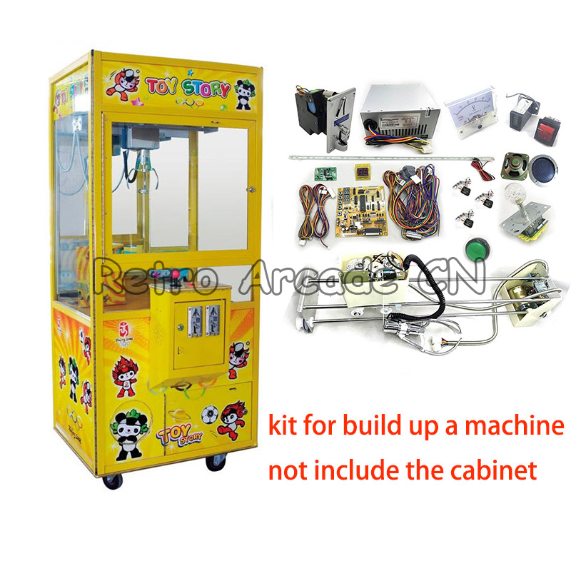DIY arcade cabinet Toy Crane Machine kit with claw, motor, crane game PCB, coin acceptor, buttons, harness. joystick