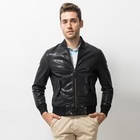 Men's Leather Jacket Casual Outfit Coat 100% Genuine Leather Jacket Short Fashion Sheepskin Aviator Lambs Flight Casual Coat