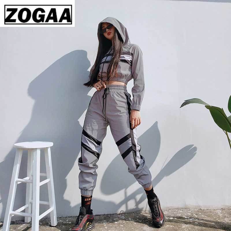 2019 New Arrival Women Reflective Two Pieces Sets Silver Pactwork Ctop Top Sweatshirts Elastic Drawstring Pants Tracksuits in Women 39 s Sets from Women 39 s Clothing
