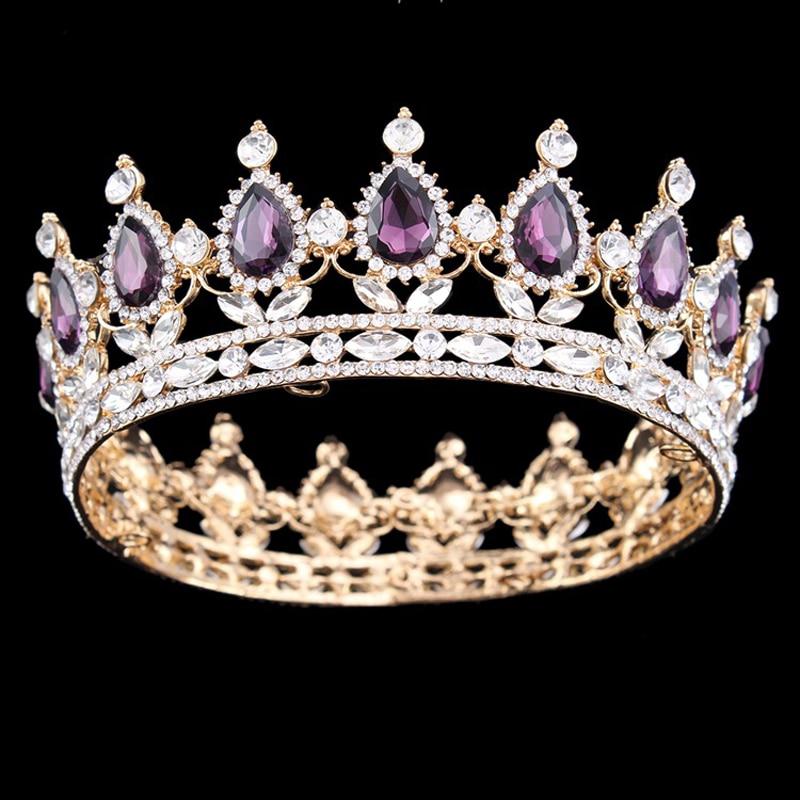 Romantic Full Round Crystal Rhinestone Bride Crown Tiaras Princess Pageant Prom Headpieces Bridal Wedding Hair Jewelry Headbands