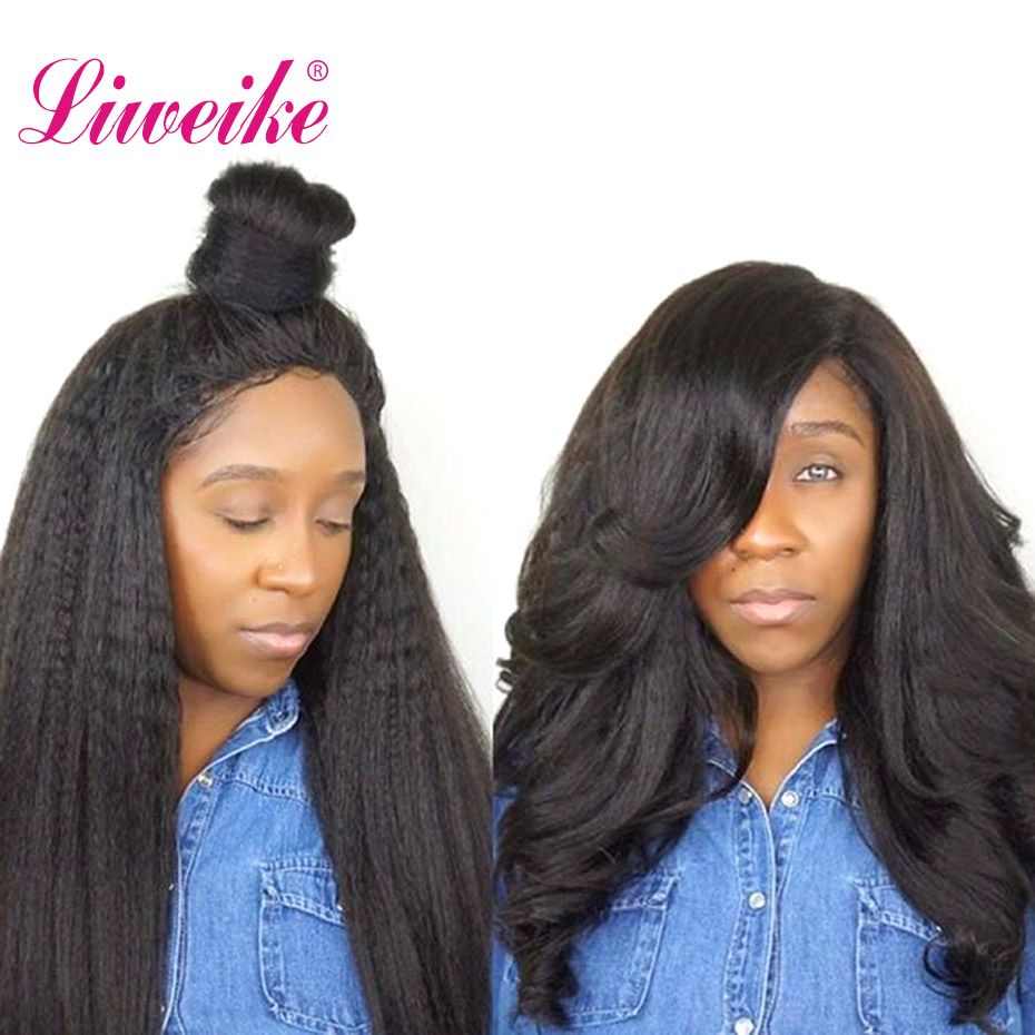Liweike Full Lace Wig Kinky Straight Brazilian 1b Color 100 Human Hair Wigs Glueless For Black