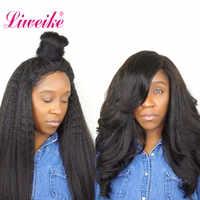 Liweike フルレースかつら変態ストレートブラジル 1b 色 100% 人毛かつらのグルーレス手頃な価格自然な髪