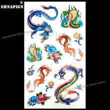 SHNAPIGN Colorful Snake Dragon Temporary Tattoo Body Art Flash Tattoo Stickers 17x10cm Waterproof Fake Car Styling Wall Sticker