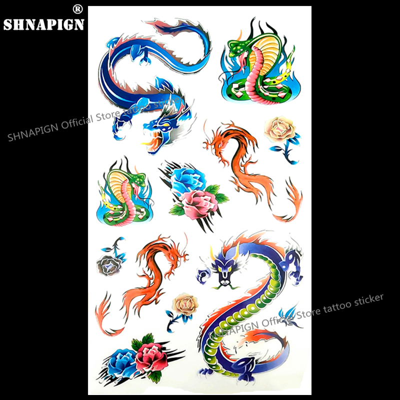Colorful Snake Dragon Temporary Tattoo Body Art Flash Tattoo Stickers 17*10cm Waterproof Fake Tatoo Car Styling Wall Sticker super bowl ring 2019