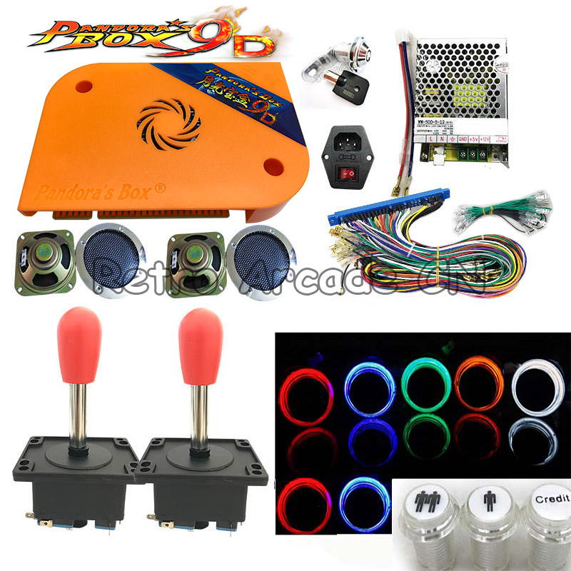 Arcade Game DIY kit Pandora Box 9d Jamma board 2222 in 1 with power supply joystick LED button For video game cabinet machineArcade Game DIY kit Pandora Box 9d Jamma board 2222 in 1 with power supply joystick LED button For video game cabinet machine