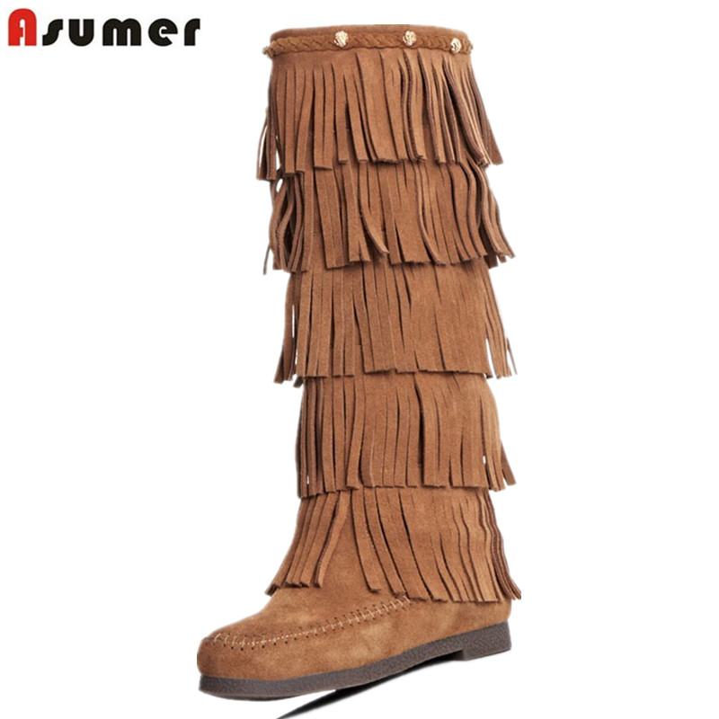Asumer Quality women tassel boots fashion nubuck genuine leather boots flat heel brand winter boots round toe knee high boots de la chance winter women boots high quality female genuine leather boots work