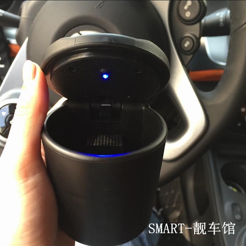Автомобильная пепельница со светодиодным синим светом, сигарета, пепельница для сигарет, контейнер для дыма, пепельница для Smart 453 Fortwo Smart 453 ...