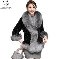 Высокое качество натуральный мех пальто норка меховая куртка с лисьим меховым воротником 2019 зима женский мех короткая верхняя одежда пальт