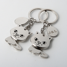 50Pcs Personalized Baby Shower Favors With Gift Box,Silver Cat Design Keychain Souvenirs,Customized Wedding Favours Logo