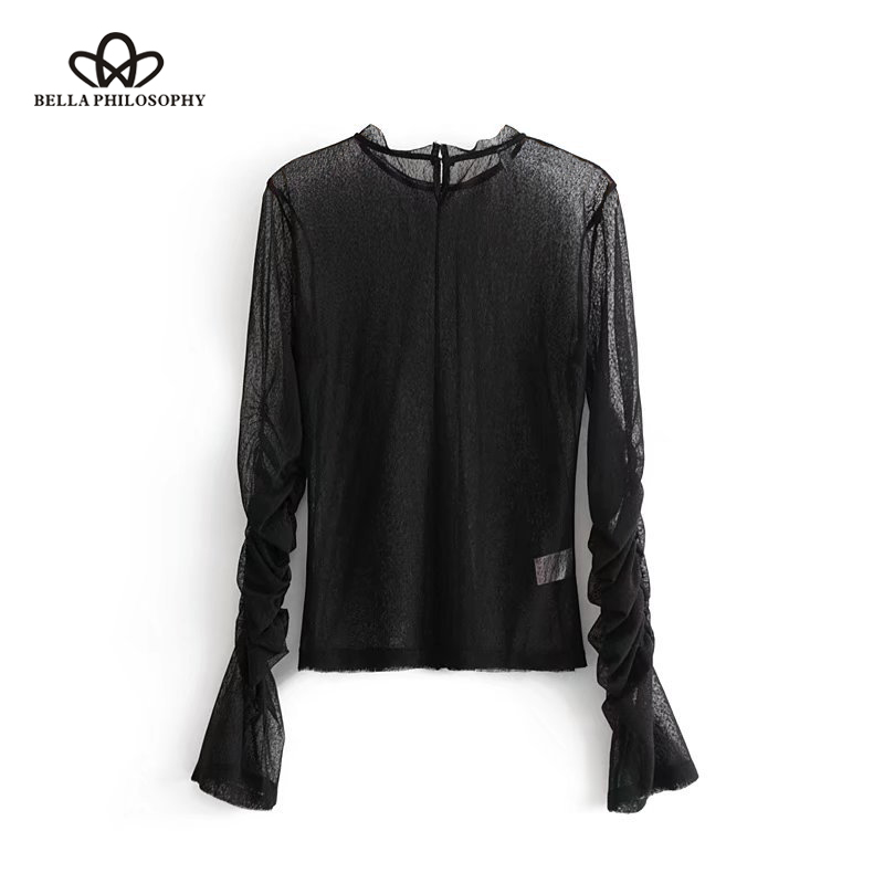 Bella Philosophy <font><b>2018</b></font> spring women <font><b>sexy</b></font> perspective blusas full petal sleeve <font><b>ladies</b></font> solid black shirt O Neck female fashion tops image