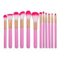 12Pcs Pink Cosmetics Beauty Makeup Brushes Set Of Brushes For Make Up Foundation Powder Eyebrows Brush