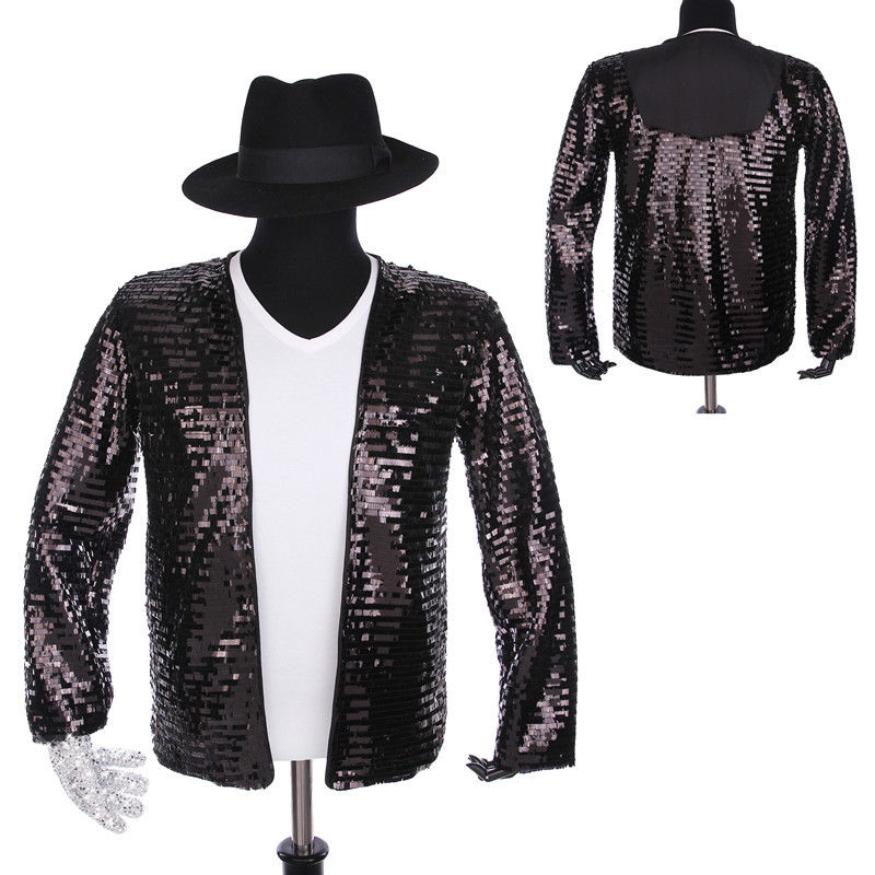 Rare Classic Cosplay  MJ Michael Jackson Billie Jean Jacket T-Shirt Glove Hat Performance Collection