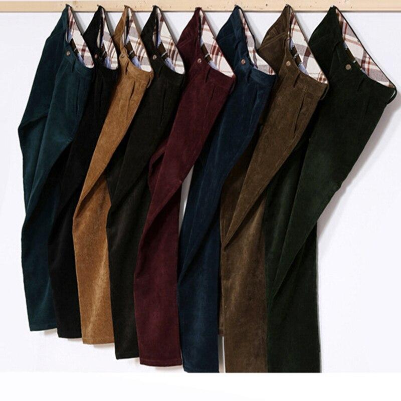 Male Winter Velvet Fleece Lined Trousers Corduroy Pants Men Vintage Polar Slim Fit Navy Black Red Coffee Brown Burgundy Red