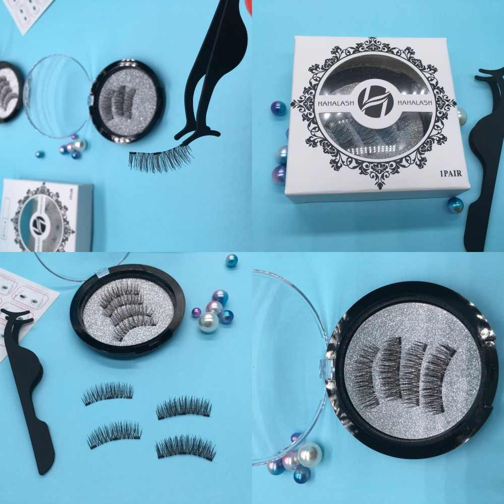 HaHaLash magnetische falsche wimpern faux nerz synthetische 3D art mit zwei oder drei magneten auf Natürliche locken Hand Gemacht fabrik preis