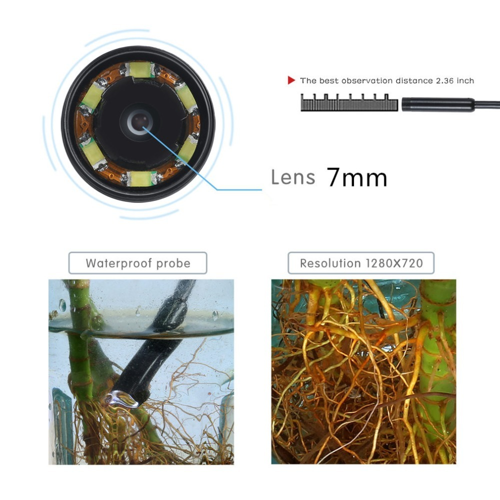 HTB127OhGKGSBuNjSspbq6AiipXae 1M 720P HD 7mm lens Inspection Pipe Endoscope Snake Tube Waterproof Mini USB Camera with 6 LEDs Borescope For Android Phone PC