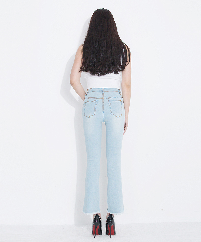 KSTUN Fashion 2018 Jeans for Women High Waist Boot Cut Light Blue Flared Embroidery Elastic Vintage Denim Pants Mujer Plus Size 14