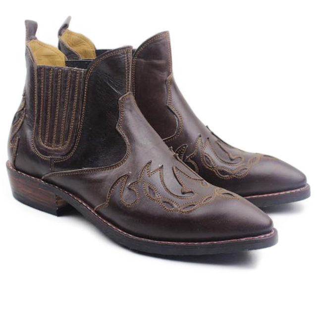 Luxury Handmade Ankle Men's Boots Cowhide Genuine Leather Work Boots Shoes Western Cowboy Botas Hombre Motocycle Short Boots Men