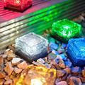 Waterproof Solar Power LED Chão De Gelo De Vidro de Cristal Forma de Tijolos Ao Ar Livre Quintal Jardim Lâmpada Estrada Luz Paisagem Lâmpadas Subterrâneas