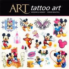 Cute Cartoon Minnie Children Temporary Tattoos Body Art Waterproof Henna Tattoo Flash Tattoos, Cartoon Modelling Wall Stickers