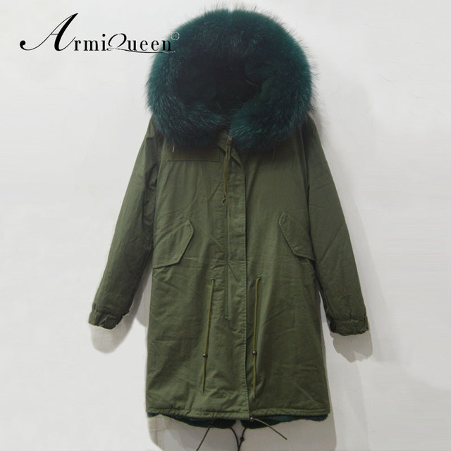 new concept women army style light green collar hooded military parka jacket c0bf3f0b0b