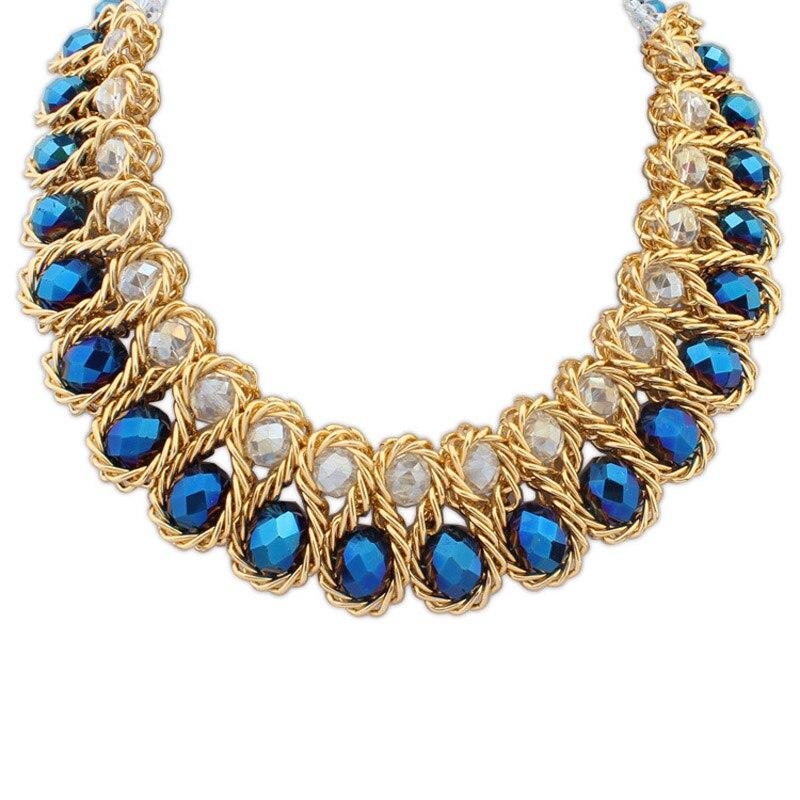ᐃGrande trenza collar oro color cadena envuelto hilo de cristal ...