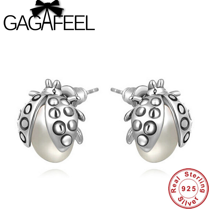 Aliexpress.com : Buy Lovely Ladybug Design Earrings Genuine 925 ...