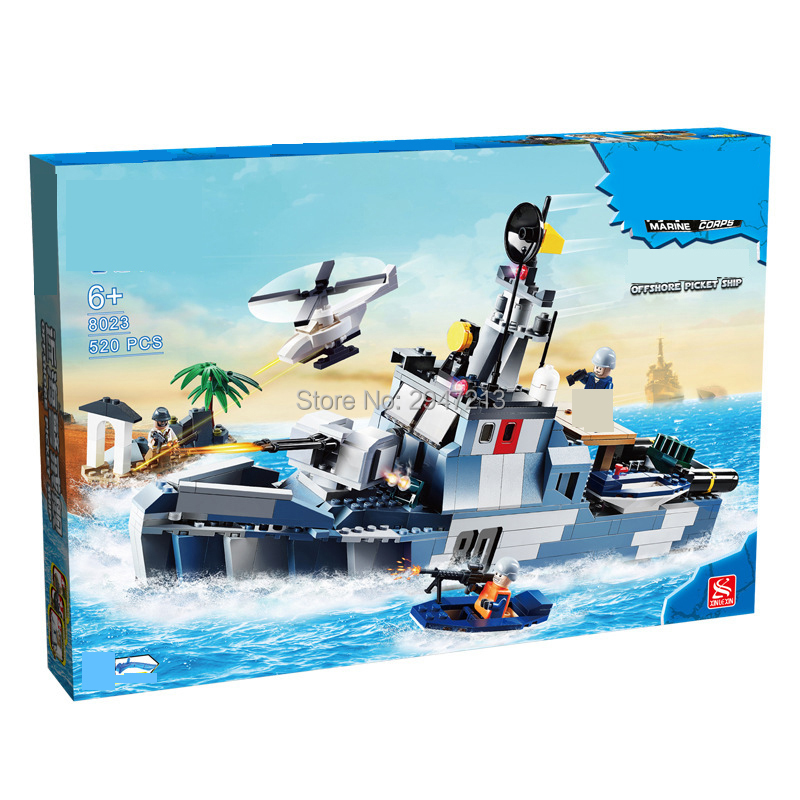 hot compatible LegoINGlys military Offshore destroyer Building Blocks with mini navy figures Weapons brick toys for Children 8 in 1 military ship building blocks toys for boys