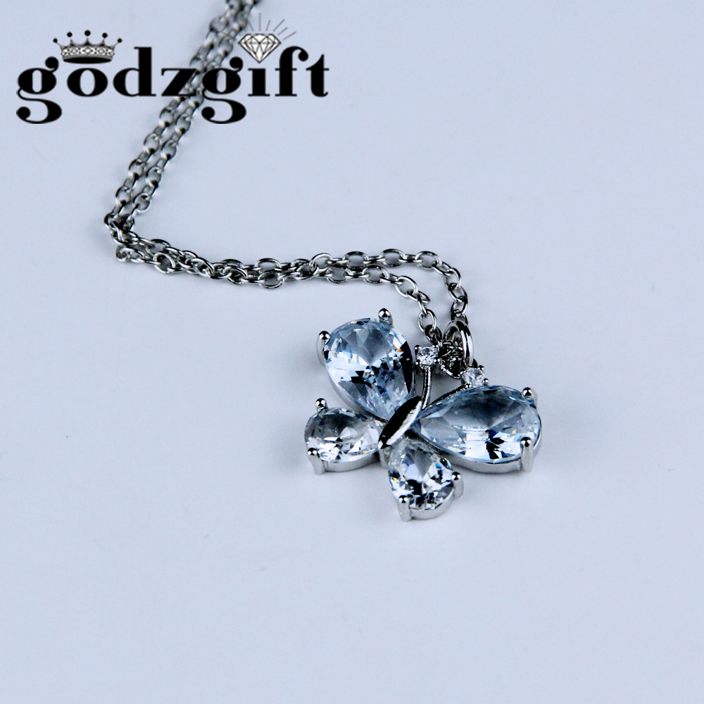 Godzgift Womens Pretty Crystal Butterfly Necklace Lady Romantic