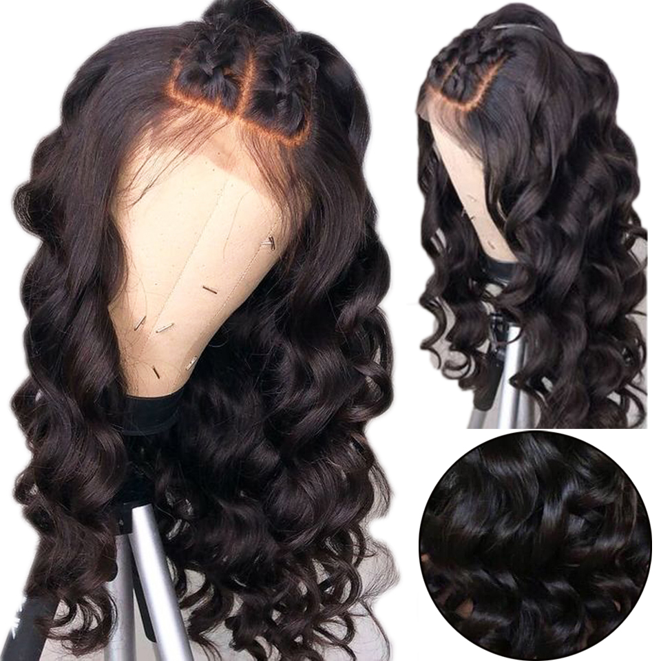 6 Inch Deep Pating 360 Lace Frontal Wigs Loose Wave 150% Density Peruvian Remy Hair Bleached Knots Lace Front Human Hair Wigs(China)