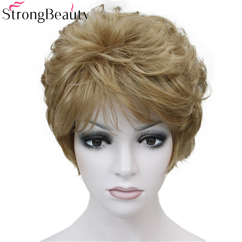 StrongBeauty Fake Synthetic Hair Lady Short Curly Wigs For Women Many Color For Choosewigs for womenwig curlywig wig -