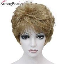 Strongbeauty 가짜 합성 머리 숙녀 짧은 곱슬 가발 여성을위한 선택을위한 많은 색상