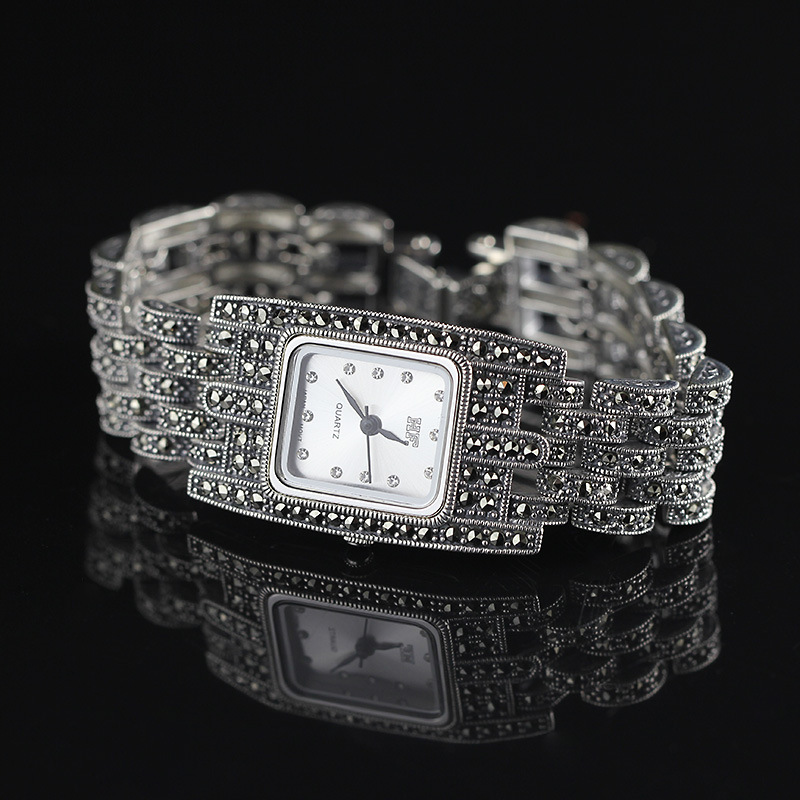 Hot Sale HF Women Classic Silver Bracelet Watch S925 Real Silver Bracelet Watch Pure Silver Bracelet Watches Real Silver Bangle new limited edition classic elegant s925 silver pure thai silver bracelet watches thailand process rhinestone bangle dresswatch