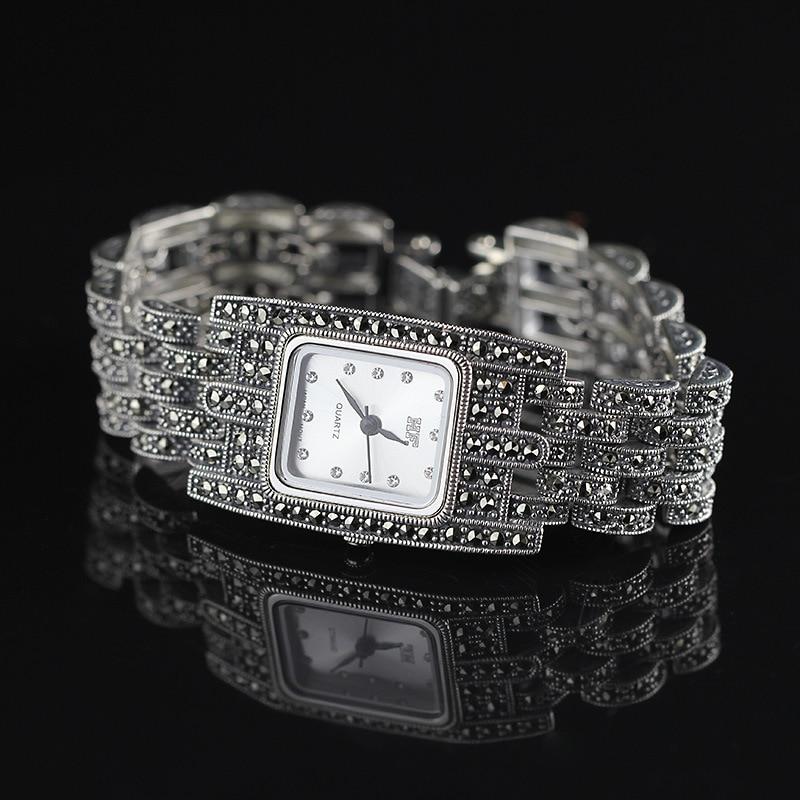 Hot Sale HF Women Classic Silver Bracelet Watch S925 Real Silver Bracelet Watch Pure Silver Bracelet Watches Real Silver Bangle цена
