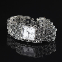 Hot Sale HF Women Classic Silver Bracelet Watch S925 Real Silver Bracelet Watch Pure Silver Bracelet Watches Real Silver Bangle