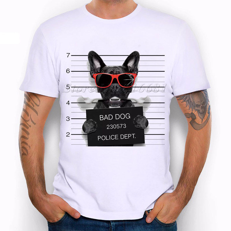 Wanted Bad Dogs Mugshot French Bulldog Sunglasses Funny Joke Men T Shirt Tee