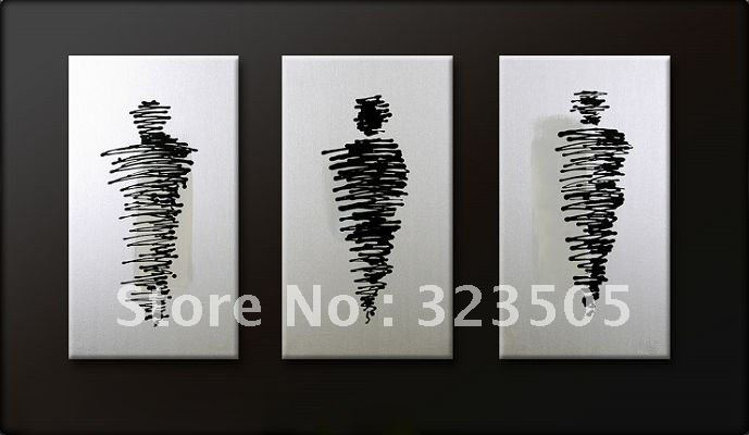 3 piece canvas wall art deco Black and white oil painting set on canvas free shipping