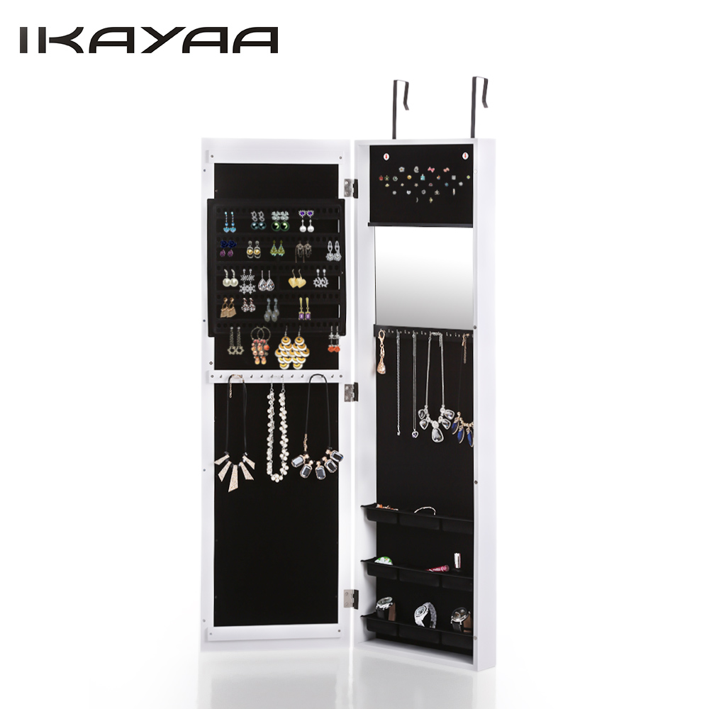 ikayaa hanging jewelry cabinet wall mounted jewelry storage box organizer mirrored hanging over door jewelry armoire