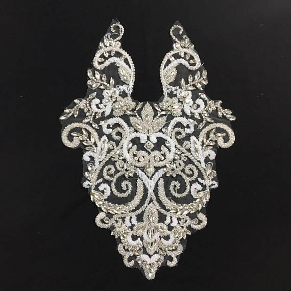 Applique corsage strass, applique cristal, applique corsage cristal pour robe de mariée, applique corsage perle lourde ZL5 #-in Strass from Maison & Animalerie    3