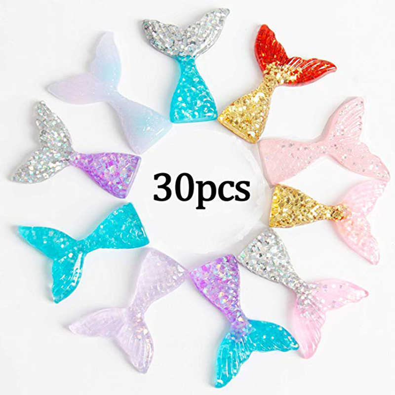 30 Pcs DIY Slime or Any DIY Crafts Slime Charms Mermaid Tail Mini Flatback Slime Beads Giltter Ornament Scrapbooking DIY Crafts