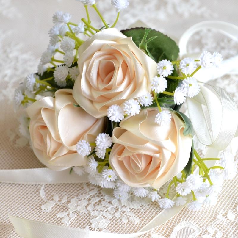 Wedding Bride Flower Bouquet: Bridesmaid Bouquet Real Rose Flowers Wedding Bouquet Hand