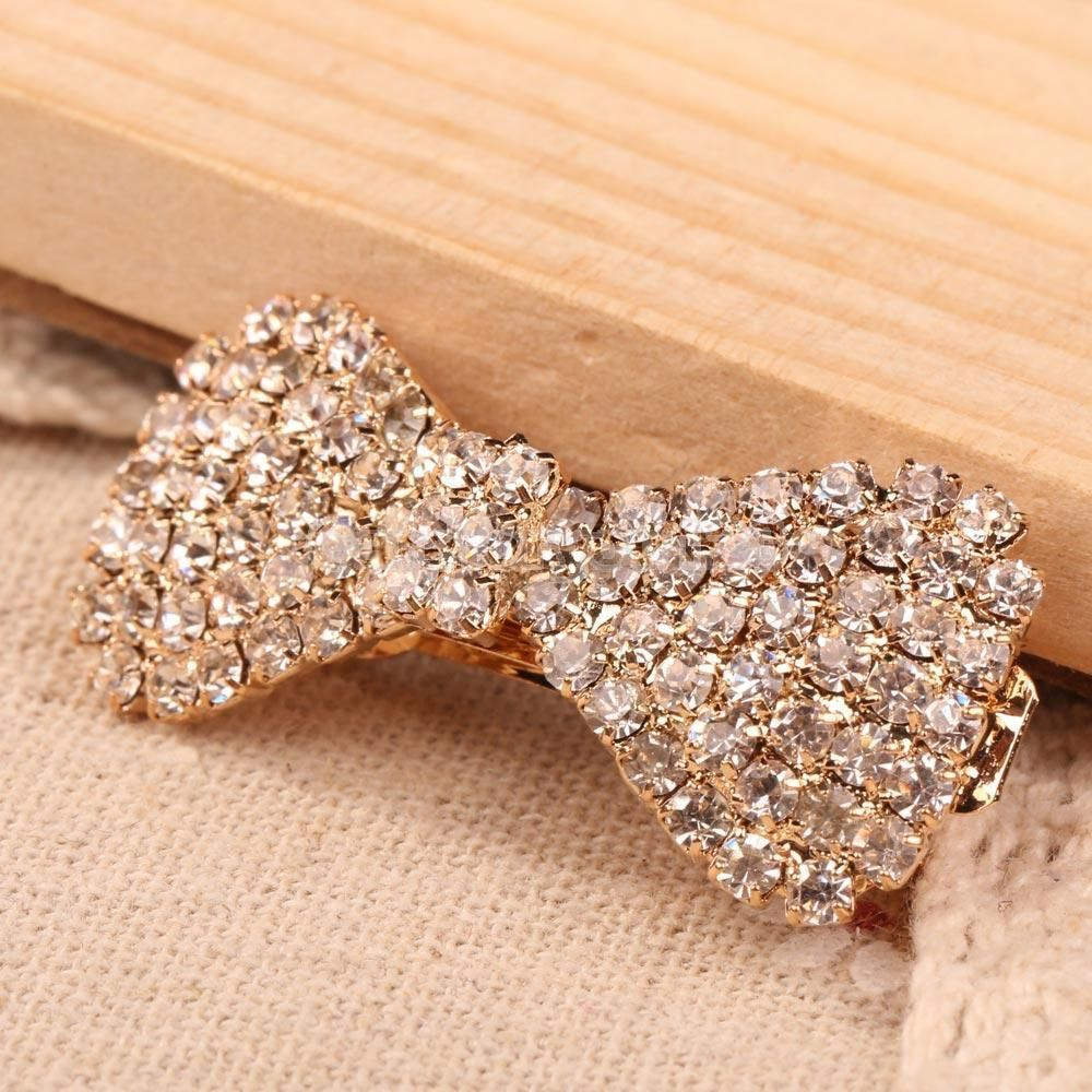 Women Girls Fashion Korea Stytle Crystal Rhinestone Hair Clip Fashion Bowknot Clamp Hairpin Hair Accessories